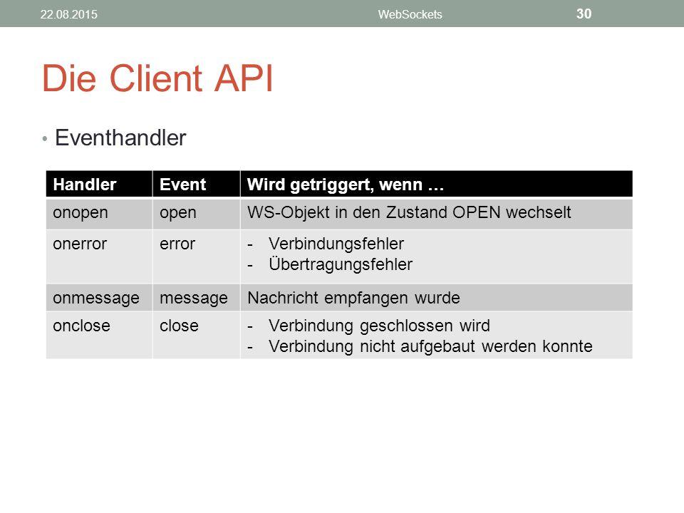 Die Client API Eventhandler Handler Event Wird getriggert, wenn …
