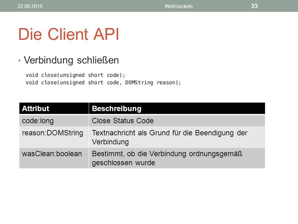 Die Client API Verbindung schließen Attribut Beschreibung code:long