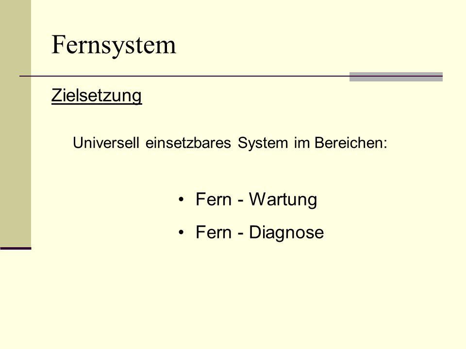 Fernsystem Zielsetzung Fern - Wartung Fern - Diagnose