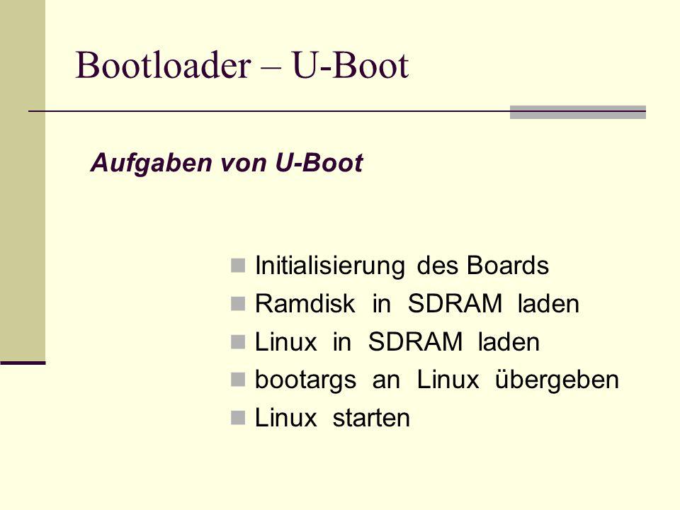 Bootloader – U-Boot Aufgaben von U-Boot Initialisierung des Boards