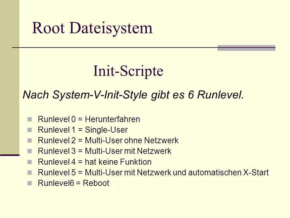 Root Dateisystem Init-Scripte