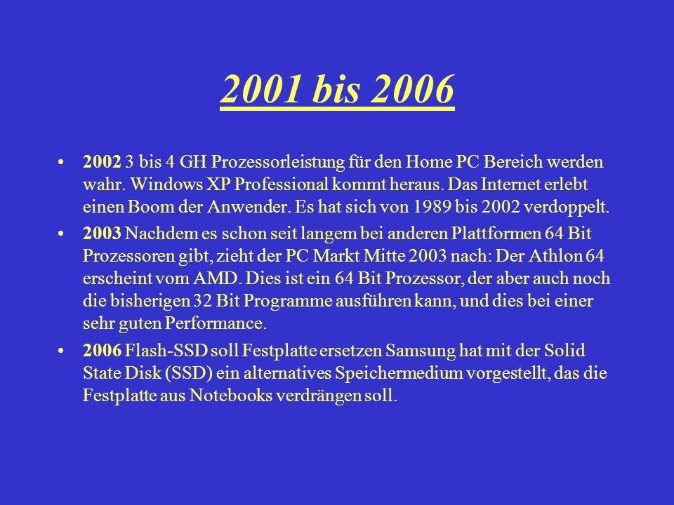 2001 bis 2006