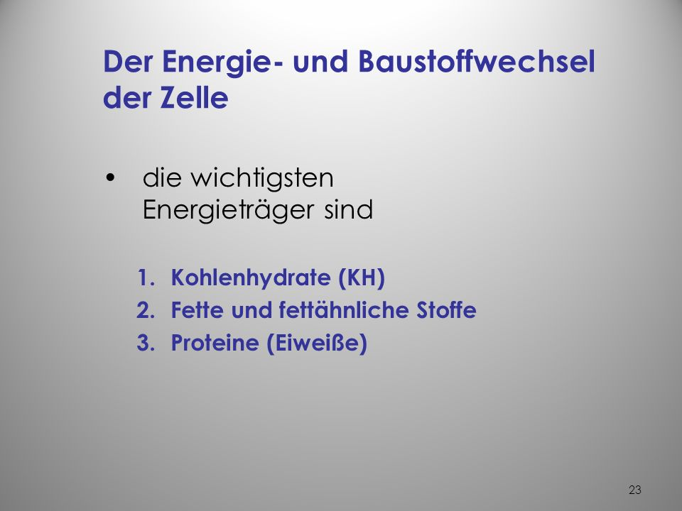 Der Energie- und Baustoffwechsel der Zelle