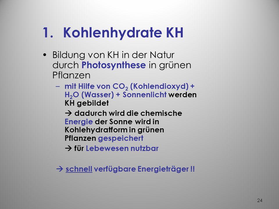 Kohlenhydrate KH Bildung von KH in der Natur durch Photosynthese in grünen Pflanzen.