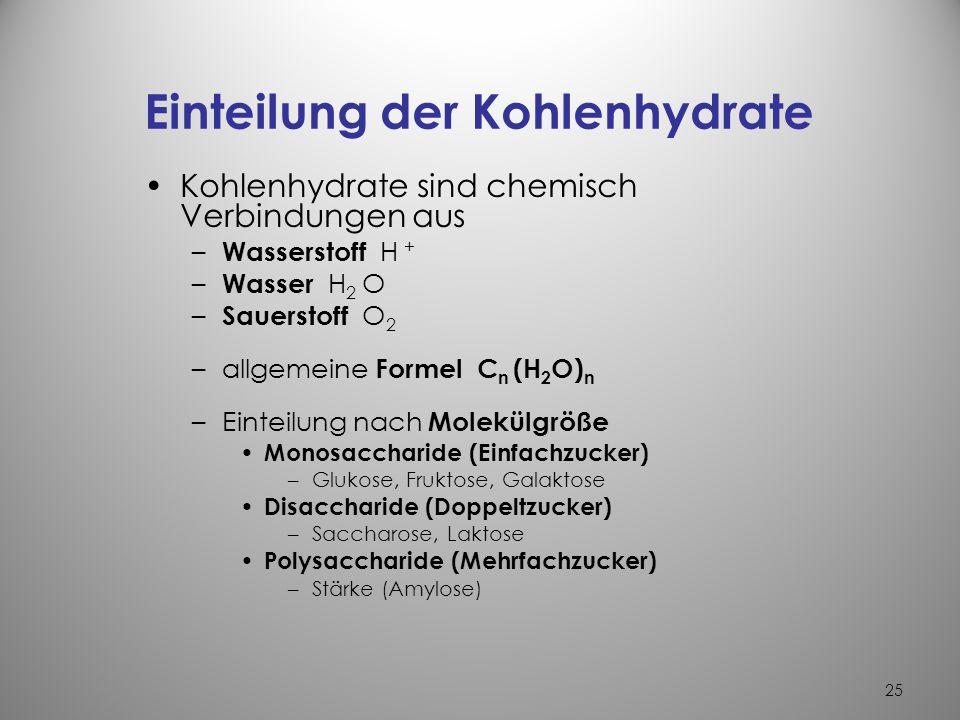 Einteilung der Kohlenhydrate