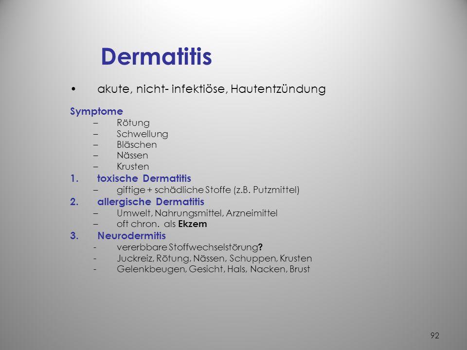Dermatitis akute, nicht- infektiöse, Hautentzündung Symptome