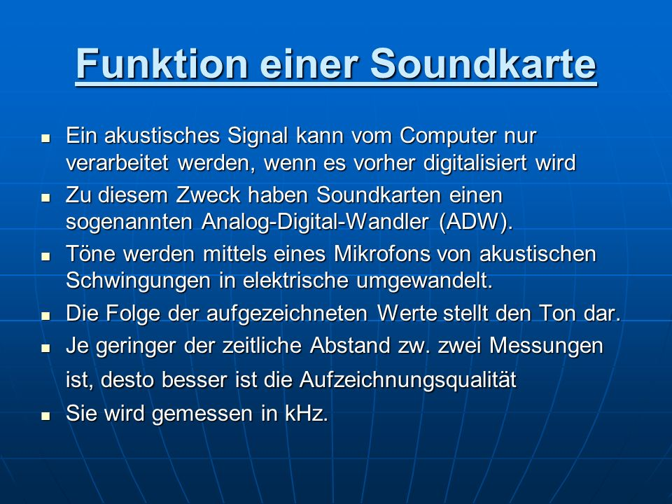 Funktion einer Soundkarte