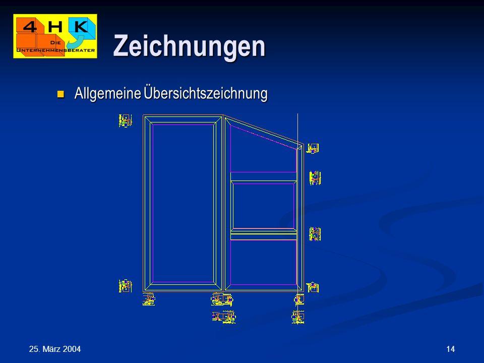 Zeichnungen Allgemeine Übersichtszeichnung 25. März 2004
