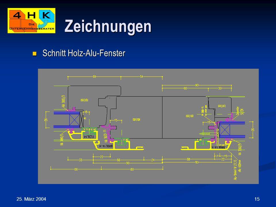 Zeichnungen Schnitt Holz-Alu-Fenster 25. März 2004