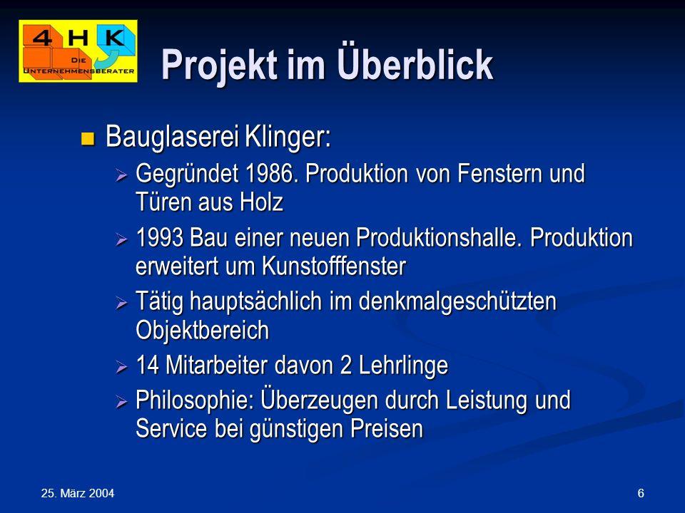 Projekt im Überblick Bauglaserei Klinger: