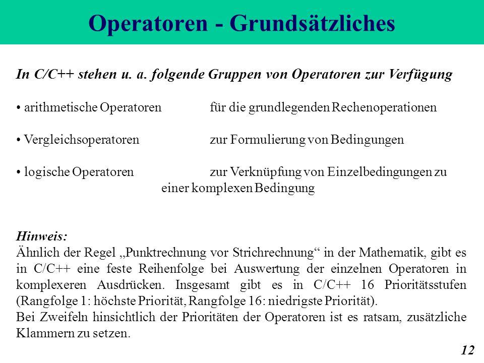 Operatoren - Grundsätzliches