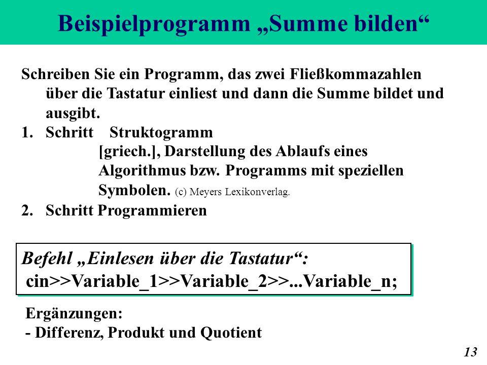 """Beispielprogramm """"Summe bilden"""