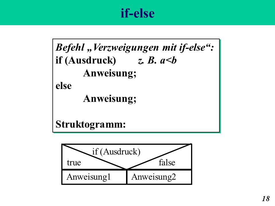 """if-else Befehl """"Verzweigungen mit if-else : if (Ausdruck) z. B. a<b"""