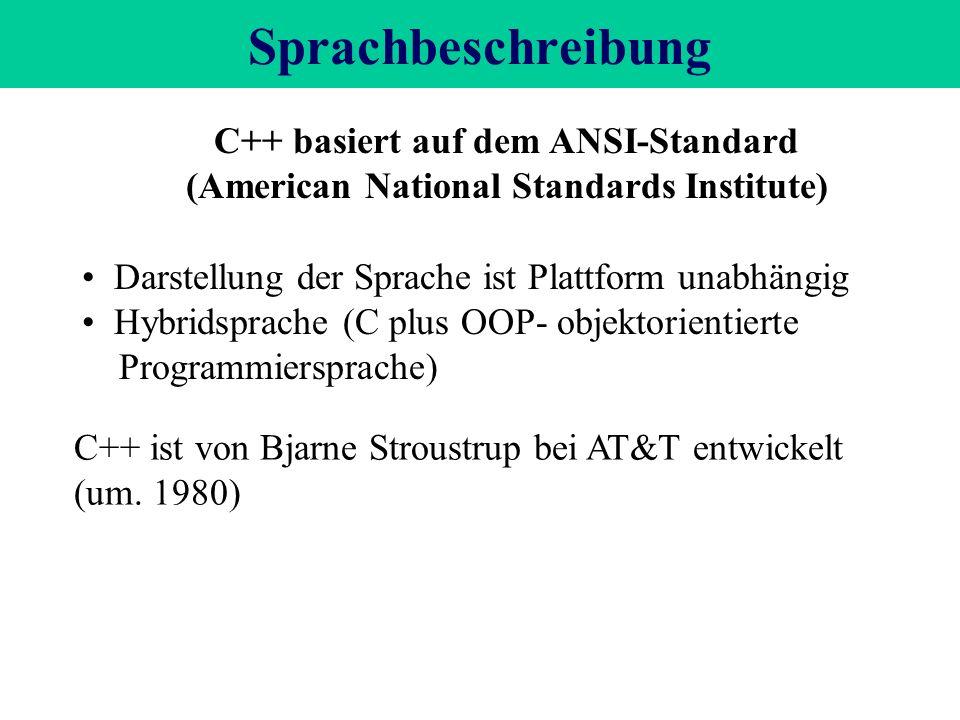 Sprachbeschreibung C++ basiert auf dem ANSI-Standard