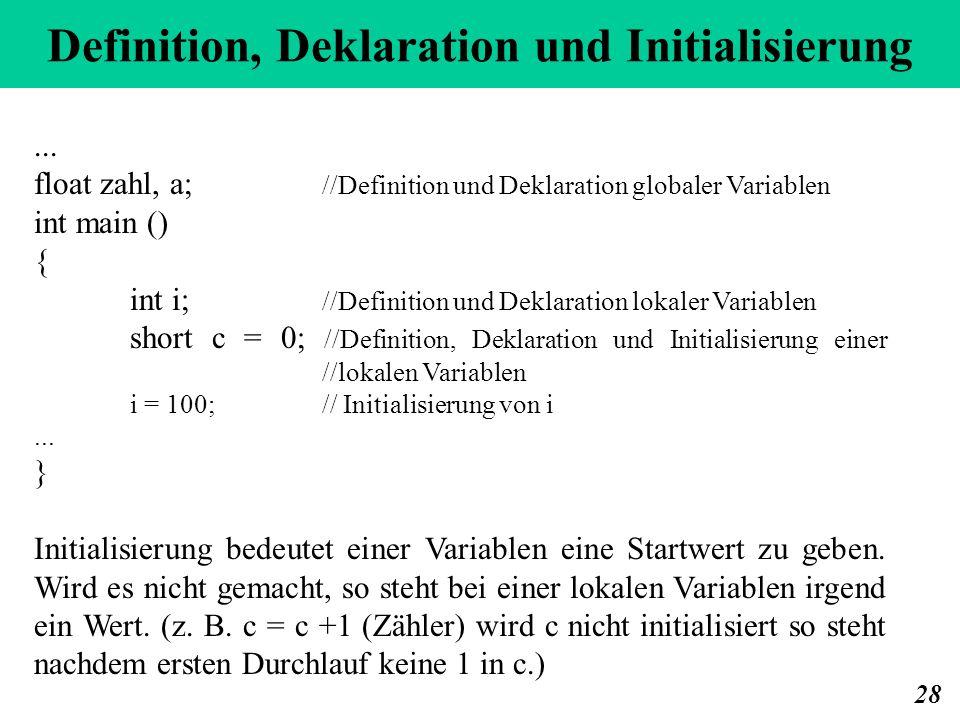 Definition, Deklaration und Initialisierung