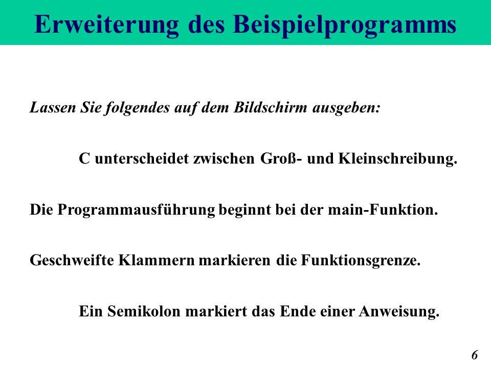 Erweiterung des Beispielprogramms