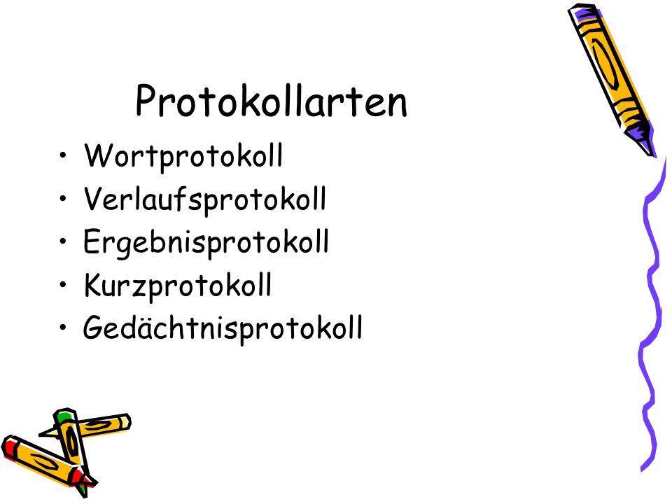 Protokollarten Wortprotokoll Verlaufsprotokoll Ergebnisprotokoll