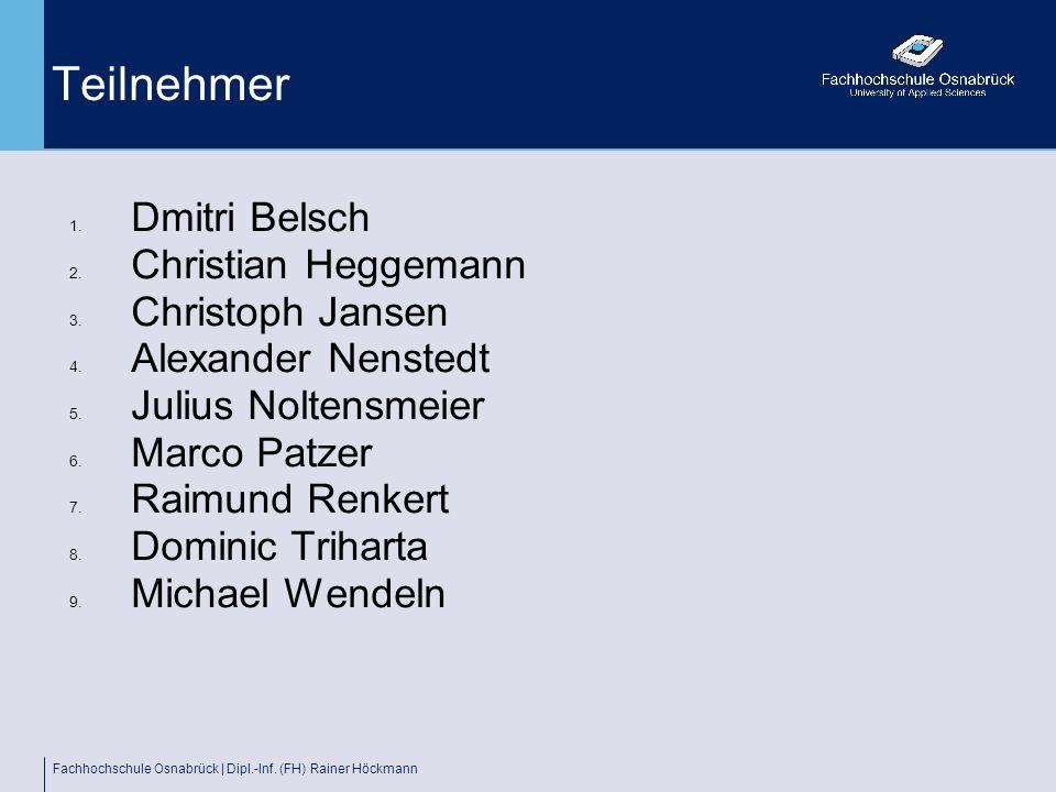 Teilnehmer Dmitri Belsch Christian Heggemann Christoph Jansen
