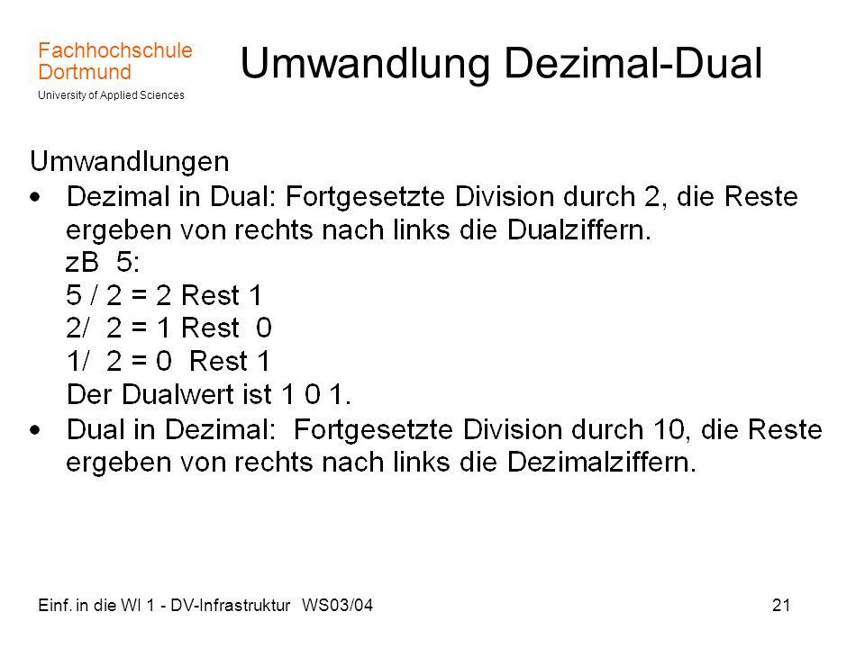 Umwandlung Dezimal-Dual