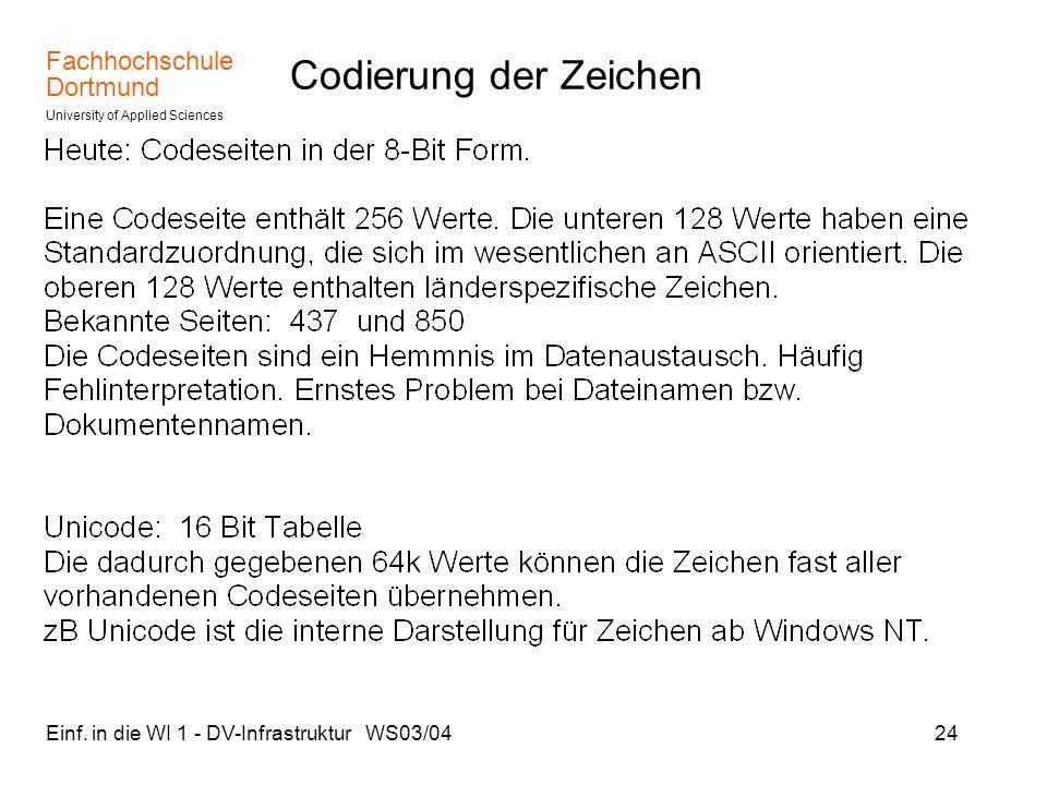 Codierung der Zeichen Einf. in die WI 1 - DV-Infrastruktur WS03/04
