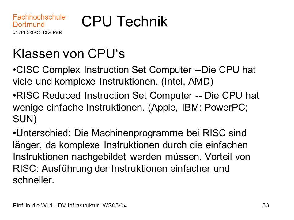 CPU Technik Klassen von CPU's