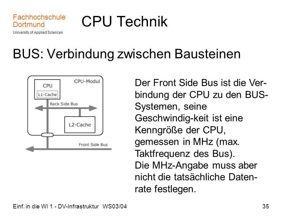 CPU Technik BUS: Verbindung zwischen Bausteinen