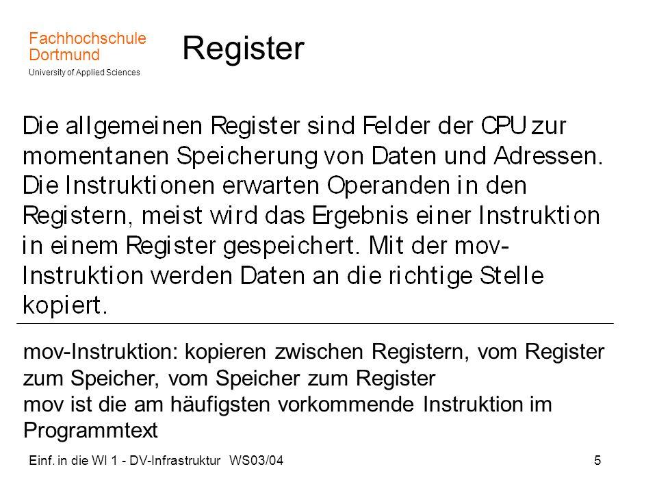 Register mov-Instruktion: kopieren zwischen Registern, vom Register zum Speicher, vom Speicher zum Register.