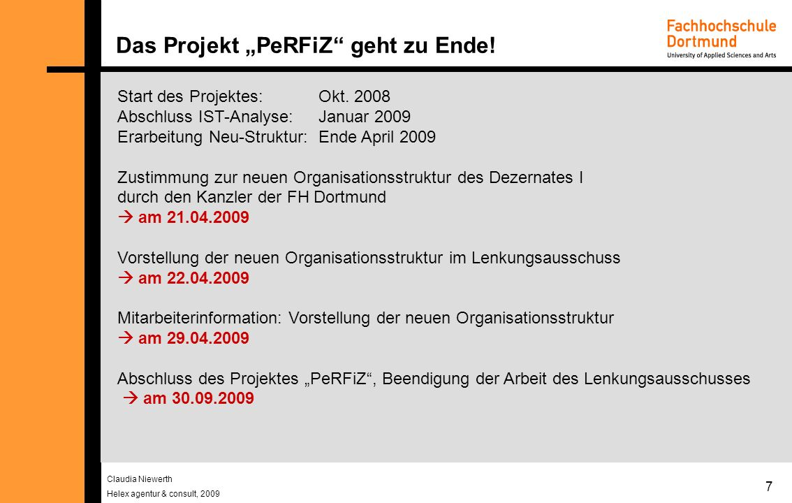 "Das Projekt ""PeRFiZ geht zu Ende!"