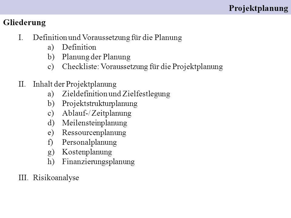 Projektplanung Gliederung Definition und Voraussetzung für die Planung