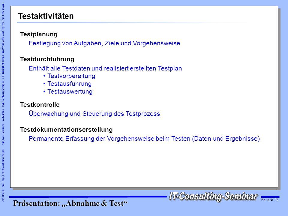 Testaktivitäten Testplanung