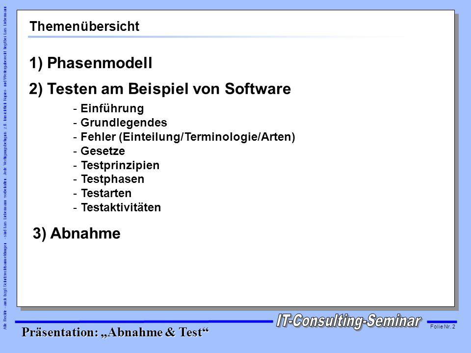 2) Testen am Beispiel von Software
