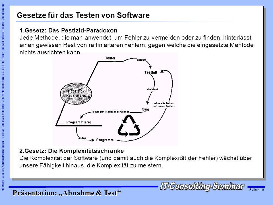 Gesetze für das Testen von Software
