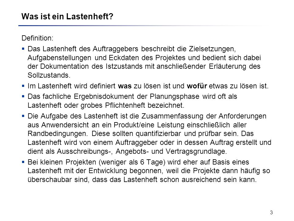 Was ist ein Lastenheft Definition:
