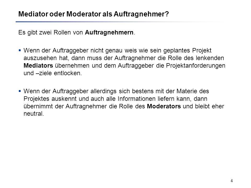 Mediator oder Moderator als Auftragnehmer