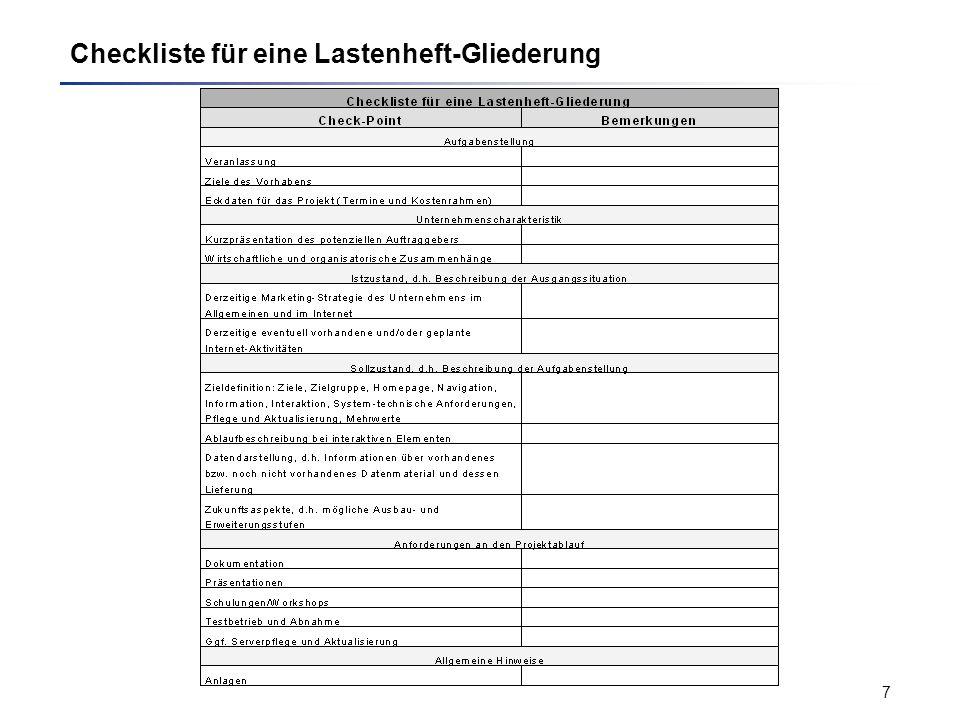 Checkliste für eine Lastenheft-Gliederung