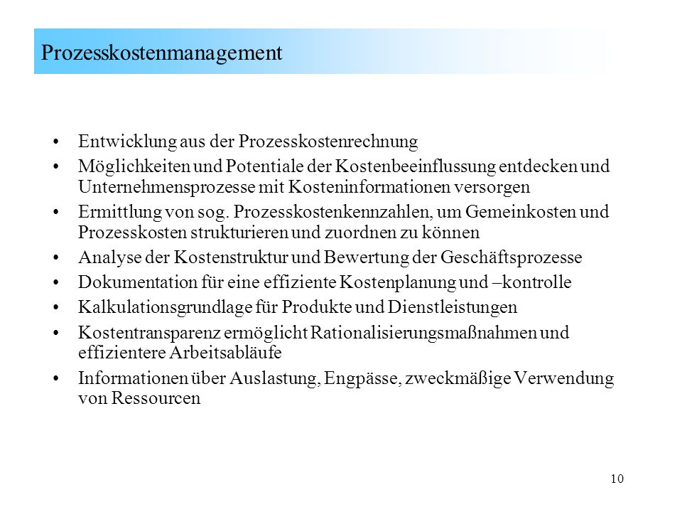 Prozesskostenmanagement
