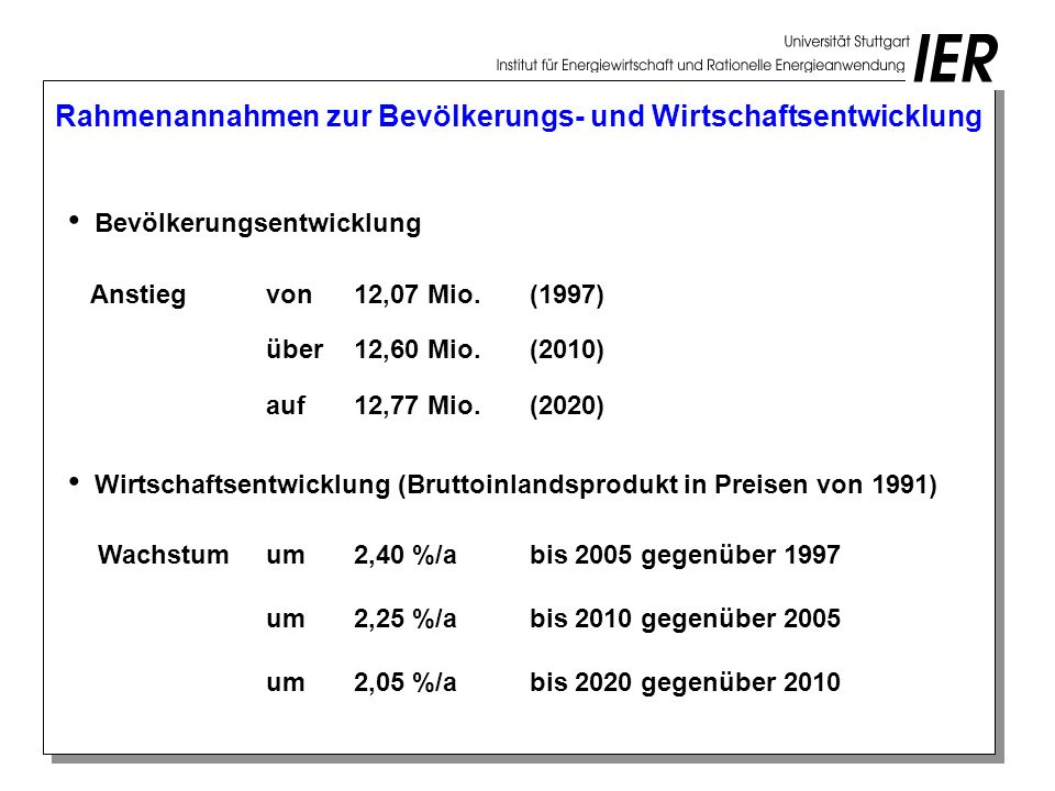 Rahmenannahmen zur Bevölkerungs- und Wirtschaftsentwicklung