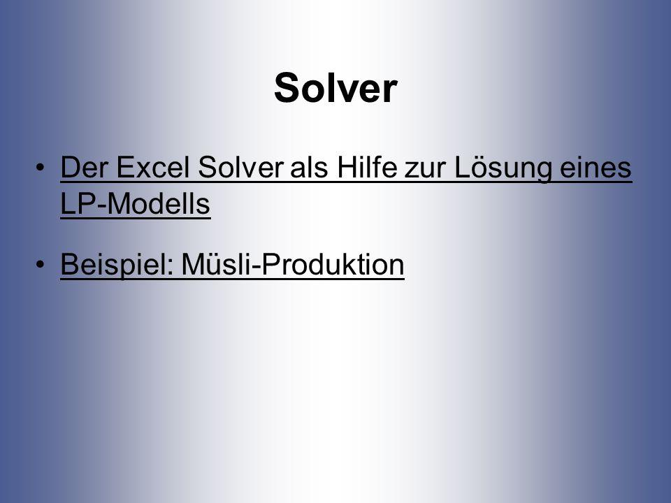 Solver Der Excel Solver als Hilfe zur Lösung eines LP-Modells