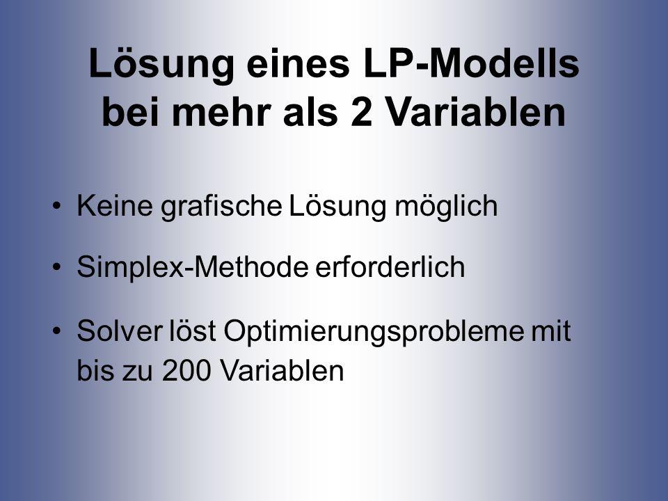 Lösung eines LP-Modells bei mehr als 2 Variablen
