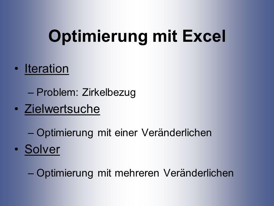 Optimierung mit Excel Iteration Zielwertsuche Solver