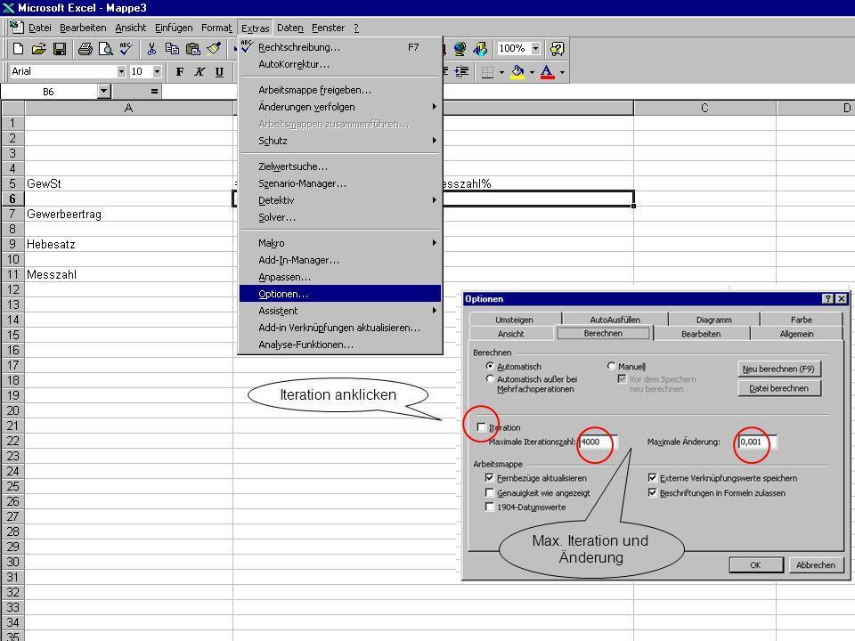 Iteration anklicken Max. Iteration und Änderung