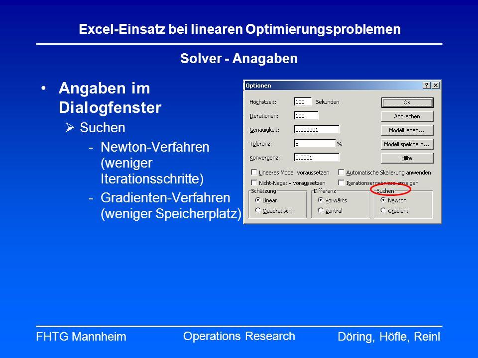 Angaben im Dialogfenster
