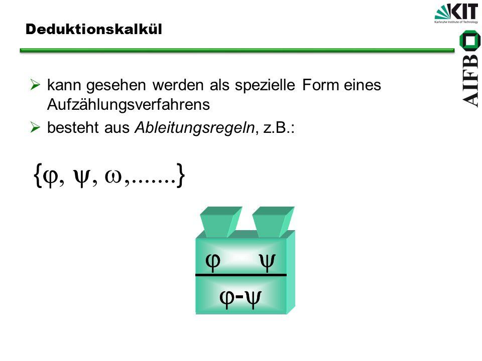 Deduktionskalkül kann gesehen werden als spezielle Form eines Aufzählungsverfahrens. besteht aus Ableitungsregeln, z.B.: