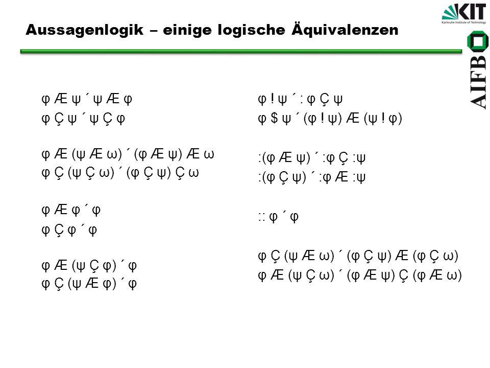 Aussagenlogik – einige logische Äquivalenzen