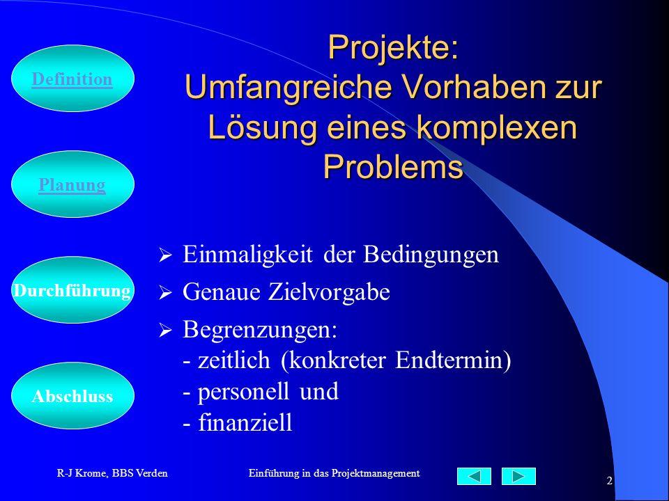 Projekte: Umfangreiche Vorhaben zur Lösung eines komplexen Problems