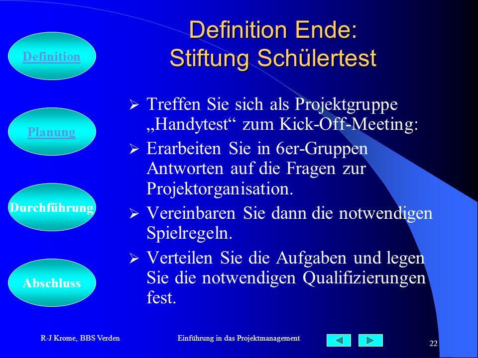Definition Ende: Stiftung Schülertest