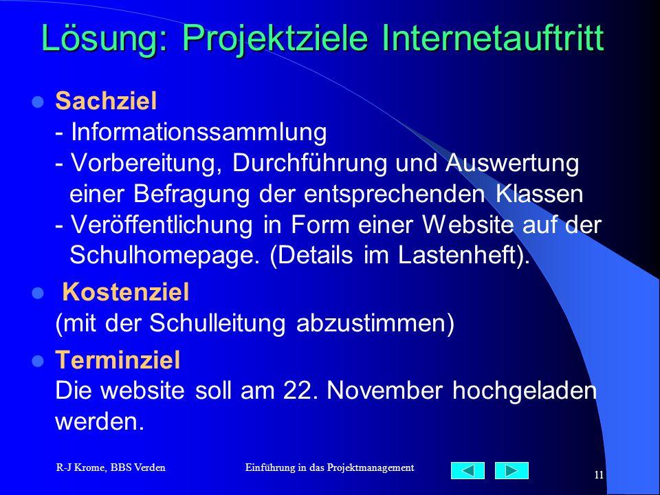 Lösung: Projektziele Internetauftritt