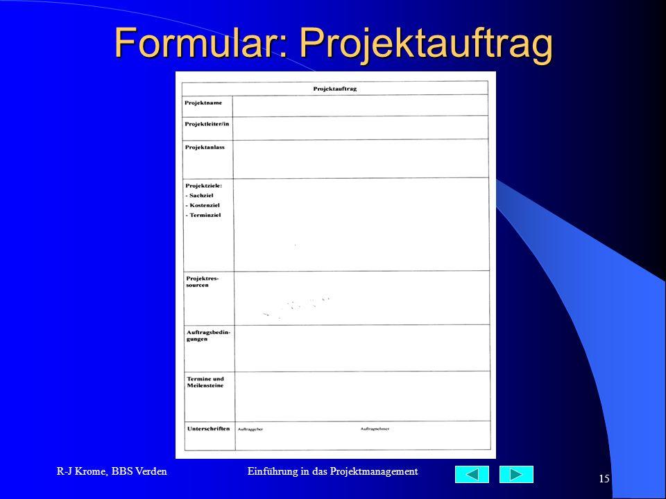 Formular: Projektauftrag