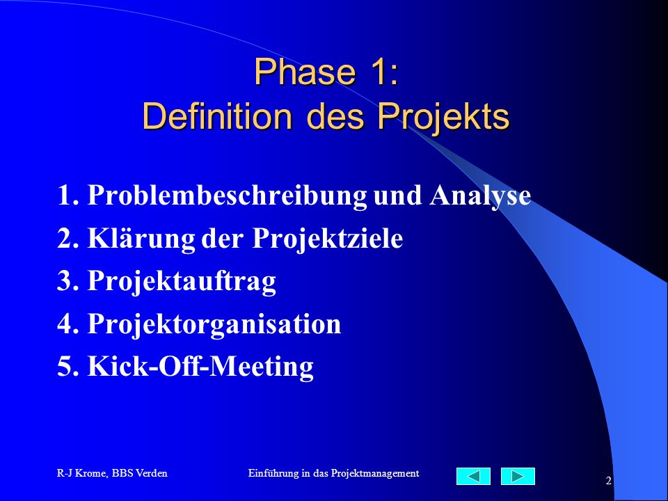 Phase 1: Definition des Projekts