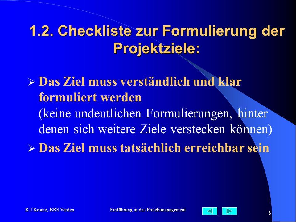 1.2. Checkliste zur Formulierung der Projektziele: